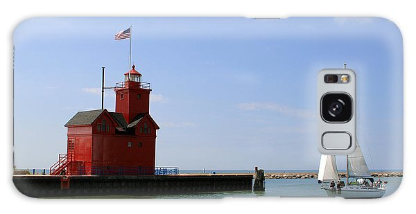 Holland Harbor Lighthouse With Sailboat Galaxy Case by George Jones