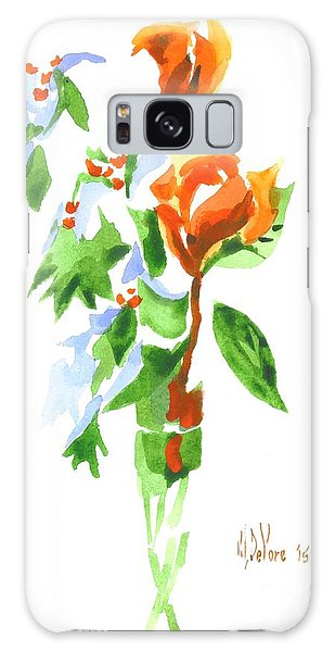 Holly With Red Roses In A Vase Galaxy Case by Kip DeVore