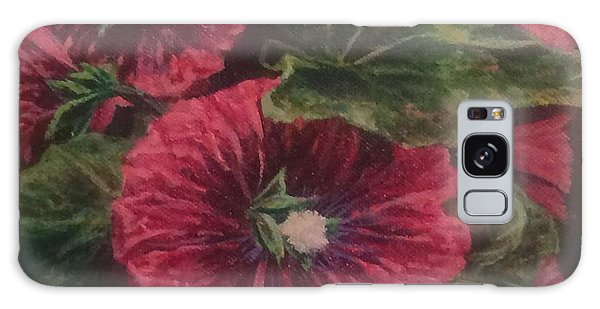 Red Hollyhocks Galaxy Case
