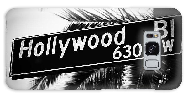 Movie Galaxy Case - Hollywood Boulevard Street Sign In Black And White by Paul Velgos