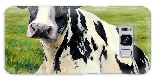 Cow Galaxy S8 Case - Holstein Cow Relaxing In Field by Dottie Dracos