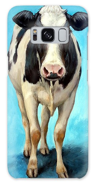 Cow Galaxy Case - Holstein Cow Standing On Turquoise by Dottie Dracos
