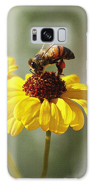 Honey Bee And Brittle Bush Flower Galaxy Case by Tom Janca