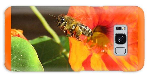 Honeybee Leaving Nasturtium With A Full Pollen Basket Galaxy Case by Lucinda VanVleck