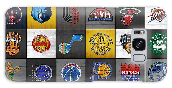Recycle Galaxy Case - Hoop It Up Recycled Vintage Basketball League Team Logos License Plate Art by Design Turnpike