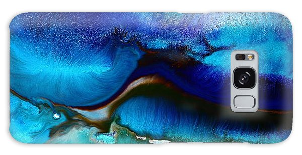 Horizontal Abstract Art Just Blue By Kredart Galaxy Case