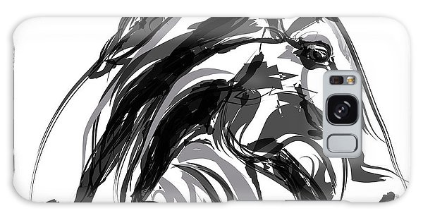 Horse- Apple -digi - Black And White Galaxy Case