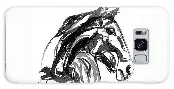 Horse- Apple -digi - Black And White Galaxy Case