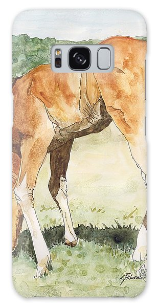 Horse Art Long-legged Colt Painting Equine Watercolor Ink Foal Rural Field Artist K. Joann Russell  Galaxy Case