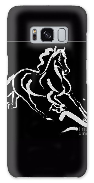Horse - Fast Runner- Black And White Galaxy Case