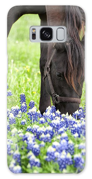 Horse With Bluebonnets Galaxy Case