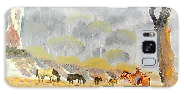 Horses Drinking In The Early Morning Mist Galaxy Case