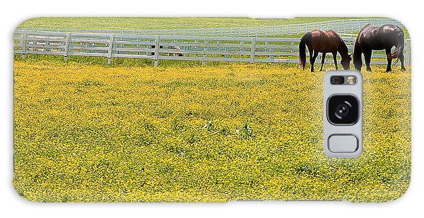 Horses Grazing In Field Galaxy Case