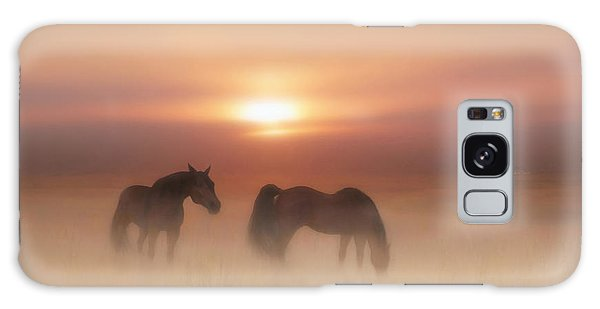 Horses In A Misty Dawn Galaxy Case