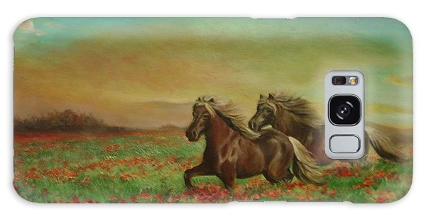 Horses In The Field With Poppies Galaxy Case
