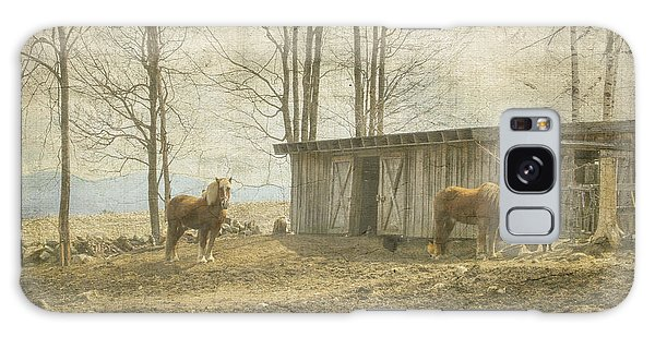 Horses On The Farm Galaxy Case