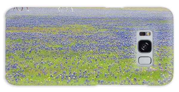 Horses Running In Field Of Bluebonnets Galaxy Case by Connie Fox