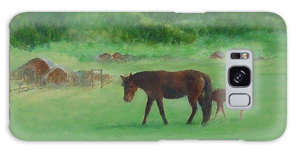 Horses Rural Pasture Western Landscape Original Oil Colorful Art Oregon Artist K. Joann Russell Galaxy Case