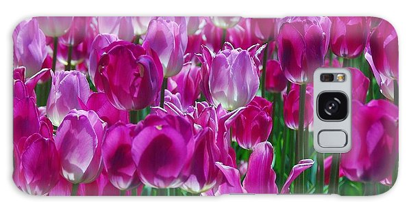 Hot Pink Tulips 3 Galaxy Case by Allen Beatty