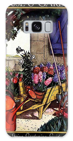 House & Garden Cover Illustration Of Garden Scene Galaxy Case