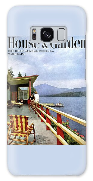 House & Garden Cover Of Women Sitting On The Deck Galaxy Case