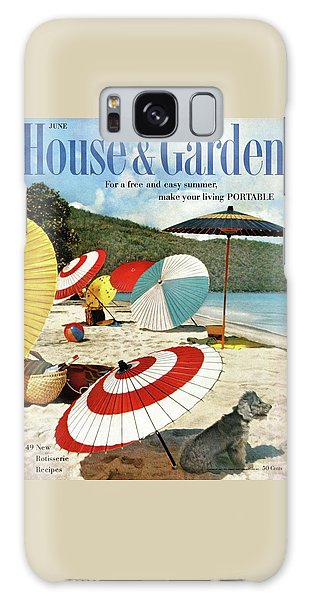 House And Garden Featuring Umbrellas On A Beach Galaxy Case