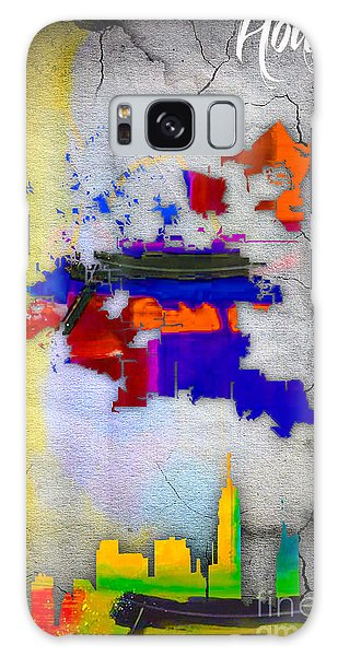 Houston Map And Skyline Watercolor Galaxy Case
