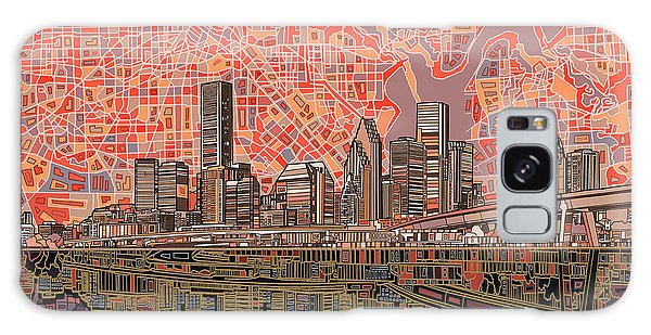 Houston Skyline Abstract 5 Galaxy Case