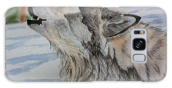 Howling Wolf In Winter Galaxy Case by Brenda Brown