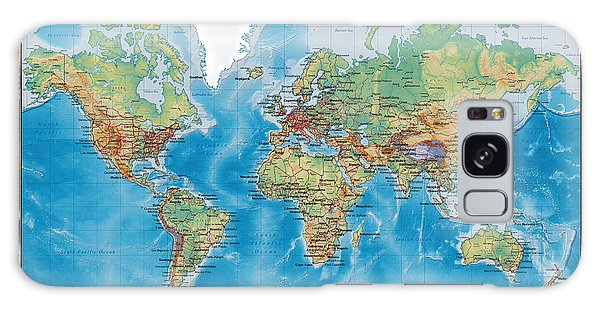 Huge Hi Res Mercator Projection Physical And Political Relief World Map Galaxy Case