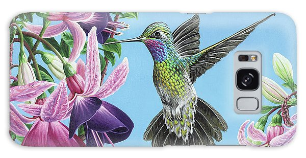 Hummingbird And Fuchsias Galaxy Case by Jane Girardot