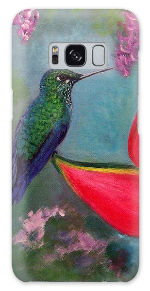 Hummingbird And Heliconia Galaxy Case