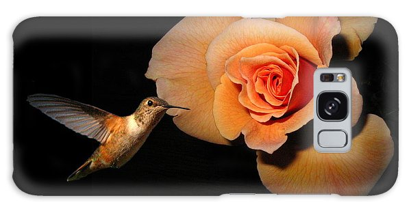 Hummingbird And Orange Rose Galaxy Case by Joyce Dickens