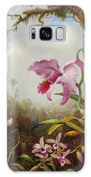 Orchid Galaxy Case - Hummingbird And Two Types Of Orchids by Martin Johnson Heade