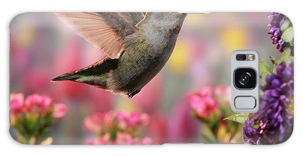 Hummingbird In Colorful Garden Galaxy Case by William Lee