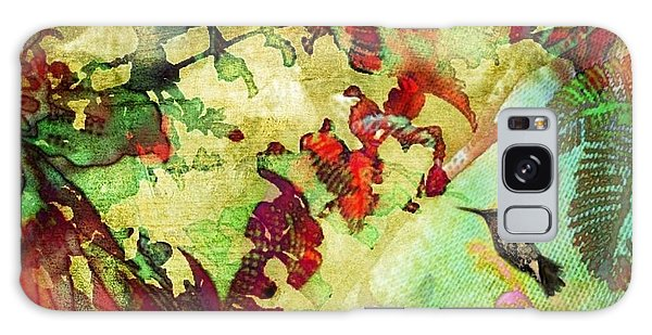 Hummingbird In Flower Heaven - Square Galaxy Case