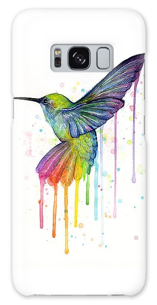 Animal Galaxy S8 Case - Hummingbird Of Watercolor Rainbow by Olga Shvartsur