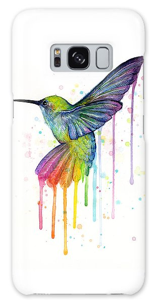 Animal Galaxy Case - Hummingbird Of Watercolor Rainbow by Olga Shvartsur