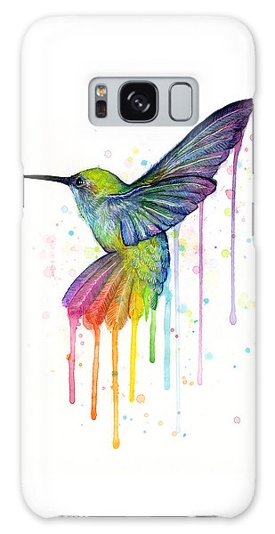 Hummingbird Of Watercolor Rainbow Galaxy Case