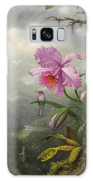Orchid Galaxy Case - Hummingbird Perched On The Orchid Plant by Martin Johnson Heade