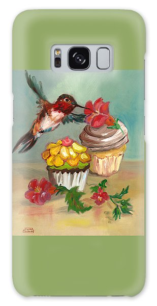 hummingbird with 2 Cupcakes Galaxy Case by Susan Thomas