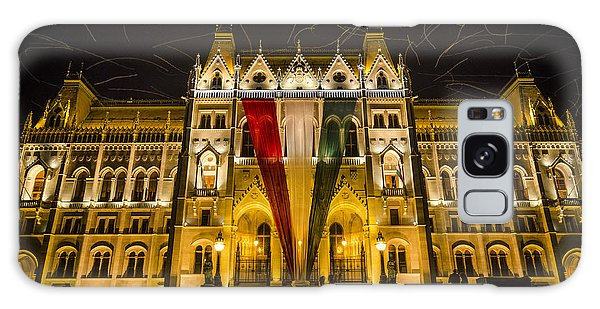 Hungarian Parliament At Night Galaxy Case