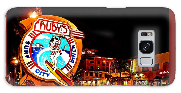 Huntington Beach Downtown Nightside 2 Galaxy Case