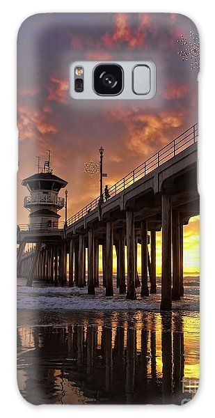 Huntington Beach Pier Galaxy Case by Peggy Hughes