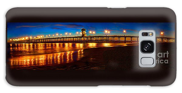 Huntington Beach Pier Twilight Panoramic Galaxy Case by Jim Carrell