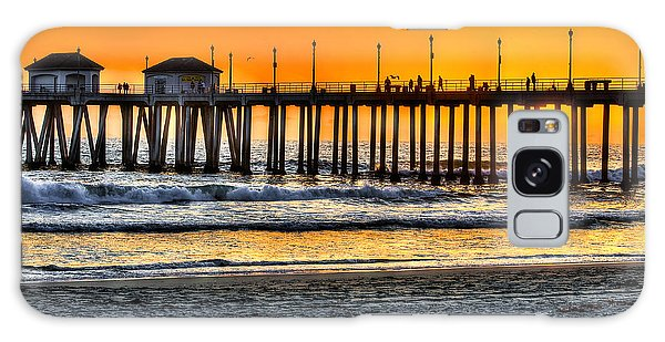 Huntington Beach Sunset Galaxy Case by Jim Carrell