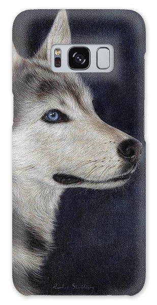 Husky Portrait Painting Galaxy Case by Rachel Stribbling
