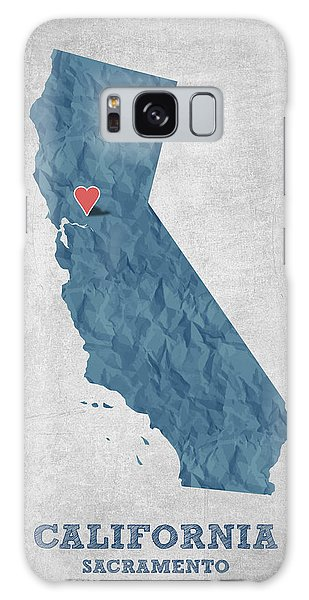 Usa Map Galaxy Case - I Love Sacramento California - Blue by Aged Pixel