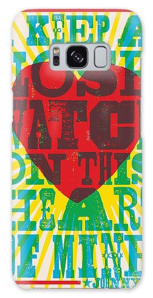 Heart Galaxy Case - I Walk The Line - Johnny Cash Lyric Poster by Jim Zahniser