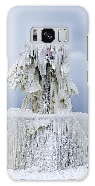 Ice Covered Warning Tower Along Lake Michigan In St. Joseph Michigan Galaxy Case